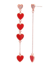 Fashion Red S925 Sterling Silver Drip Heart-shaped Acrylic Earrings