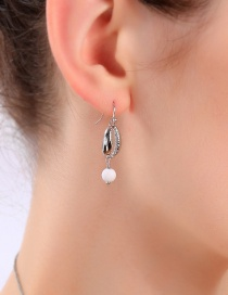 Fashion Platinum Shell Embossed Earrings