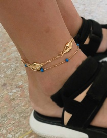 Fashion Gold Alloy Chain Rice Beads Shell Multi-layered Anklet