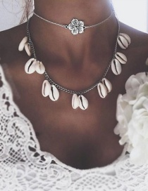 Fashion Silver Multilayer Alloy Old Flower Shell Necklace