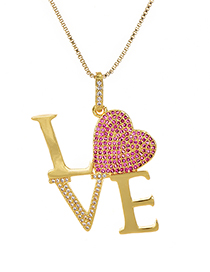 Fashion Gold Copper Inlaid Zircon Love Letter Love Necklace