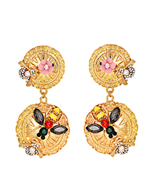 Fashion Gold Alloy Studded Insect Flower Earrings