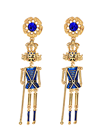 Fashion Blue Alloy Diamond Doll Stud Earrings