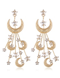 Fashion Yellow Alloy Full Diamond Star Moon Earrings