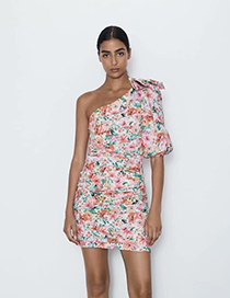 Fashion Colored Flower Flower Print Asymmetric Dress