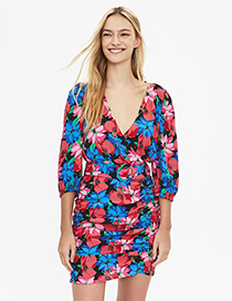 Fashion Flower Print Belted Floral Dress