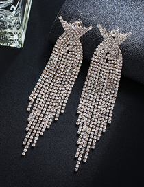 Fashion Gold + White Diamond Claw Chain Studded Tassel Earrings