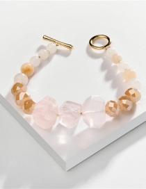 Fashion Pink Natural Cut Stone Beads Open Bracelet