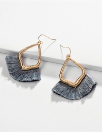 Fashion Gray Blue Alloy Hollowed Out Ear Fringed Fan Earrings