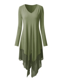 Fashion Army Green Contrast Stitching Chiffon Irregular Hem Dress