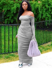Fashion Gray Wrapped Chest Straps With Bow Tie Pleated Dress