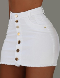 Fashion White Single-breasted Detachable One-piece Edging High Waist Skirt