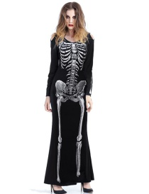Fashion Black Printed Skeleton Skeleton Openwork Dress