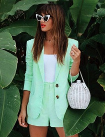 Fashion Green Suit Small Suit High Waist Five Pants Suit