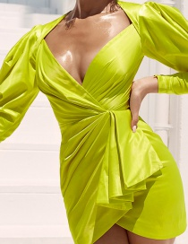 Fashion Green Irregular Lantern Sleeve V-neck Pleated Dress