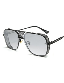 Fashion Black Frame White Mercury C1 Openwork Mesh Border Sunglasses