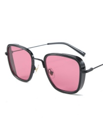 Fashion Black Frame Dark Red C1 Square Single Beam Sunglasses