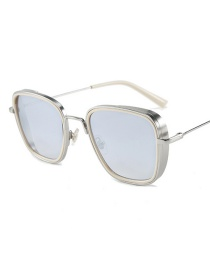 Fashion Silver Frame White Mercury C6 Square Single Beam Sunglasses