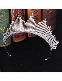 Fashion Silver Large Crystal Crown Headband
