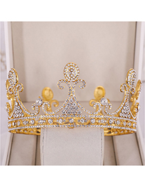 Fashion Gold Large Full Circle Crystal Crown