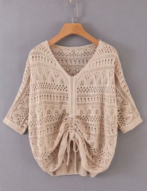 Fashion Khaki Bright Silk Openwork Sweater