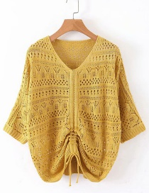 Fashion Ginger Yellow Bright Silk Openwork Sweater
