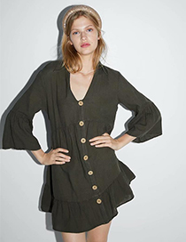 Fashion Army Green Buttoned Laminated Dress