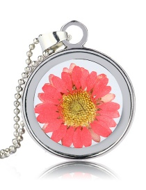 Fashion White K+ Red Chrysanthemum Natural Chrysanthemum Specimen Phase Box Necklace