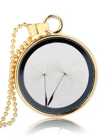 Fashion Golden Round + 2 Dandelions Dandelion Seed Glass Bottle Phase Box Necklace