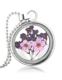 Fashion White K+ Purple Background + Light Purple Flower Gypsophila Flower Glass Phase Box Round Necklace