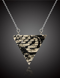Fashion Black And White Clay Triangle Necklace