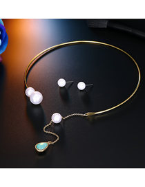 Fashion Water Drop Blue Round Pearl Open Pearl Stud Earrings Set