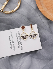 Fashion Houndstooth 925 Silver Pin Square Asymmetric Earrings