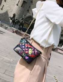 Fashion Black Printed Embroidery Line Shoulder Messenger Bag