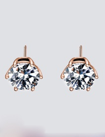 Fashion Rose Gold Inlaid Zircon Stainless Steel Earrings