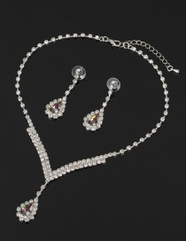Fashion Color Diamond Crystal Necklace Earring Set