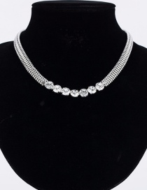 Fashion Silver Fish Bone Chain Diamond Necklace