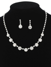 Fashion Silver Flower-studded Earrings Necklace Set