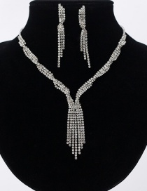 Fashion Silver Fringed Diamond Necklace Earring Set