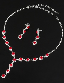 Fashion Red Diamond Necklace Earring Set
