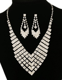 Fashion Silver Diamond Necklace Earring Set