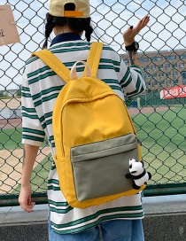 Fashion Yellow Contrast Stitching Panda Backpack