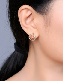 Fashion Gold Openwork Cartoon Smiley Diamond Stud Earrings