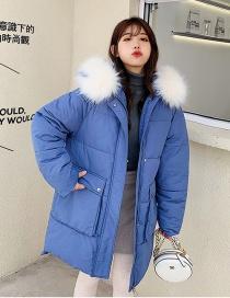 Fashion Blue Large Fur Collar Hooded Large Pocket Down Cotton Padded Jacket
