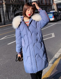 Fashion Blue Letter Printed Thick Large Fur Collar Coat