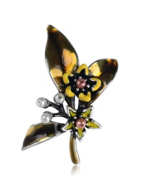 Fashion Yellow Alloy Drip Butterfly With Pearl Brooch