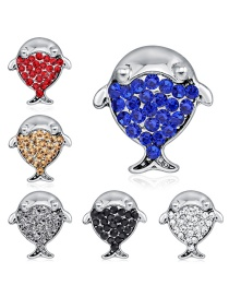 Fashion Silver Alloy Diamond Dolphin Brooch 6 Pack