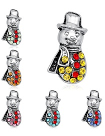 Fashion Silver Alloy Diamond Snowman Brooch 6 Packs