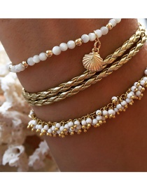 Fashion Gold Alloy Rice Beads Fringed Shell Anklet 3 Sets
