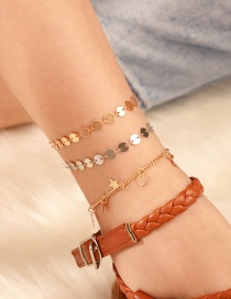 Fashion Gold Alloy Round Chain Love Five-pointed Star Multi-layered Anklet